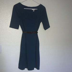 Teal pleated neck dress